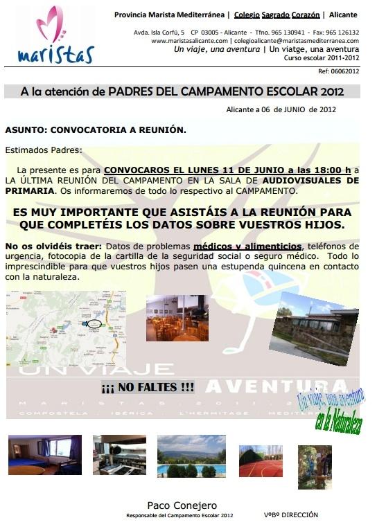 Reunión informativa campamento de VALLE DE LOZOYA (Madrid).
