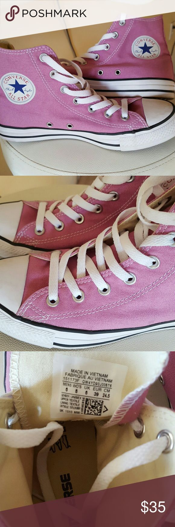 **Sale**Rose Colored High top Converse Excellent condition.  Worn one time indoors. Beautiful color all year round. Only selling because too big for me! Converse Shoes Sneakers