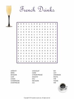 French Drinks Word Search