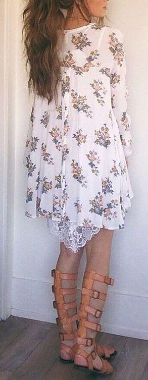 #summer #outfits / floral print boho dress