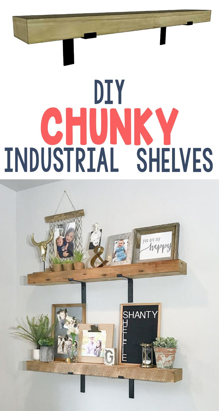 LOVE these shelves!  The brackets are by Crates and Pallet and you can get them at Home Depot!  Simple DIY! www.shanty-2-chic.com