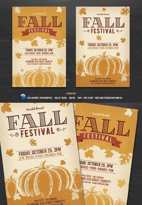 Fall Festival Flyer Colorful Brush Strokes Fall Festival Flyer - Free printable fall festival flyer templates