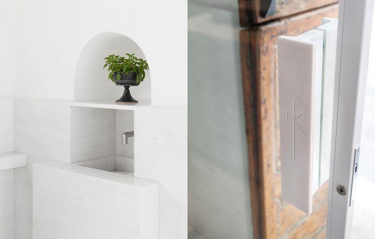 Nikos Koulis Mykonos, white Dionysus marble engraved door pull
