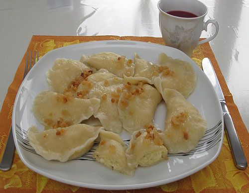 Pierogi Ruskie. Ate it in Krakow, loved it! It's very cheap there and it fills you up. Can't really find a non-Polish recipe though :(