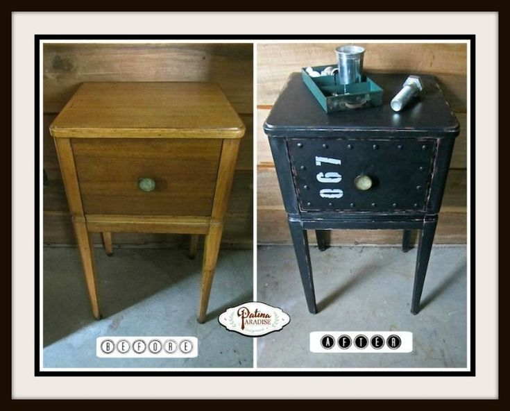 industrial faux metal nightstand