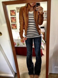 stripes with leather jacket and jeans...need a light brown {faux} leather jacket