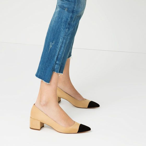 Chic happens on a budget. // Mid-HEEL SHOES WITH CONTRASTING TOE CAP from Zara