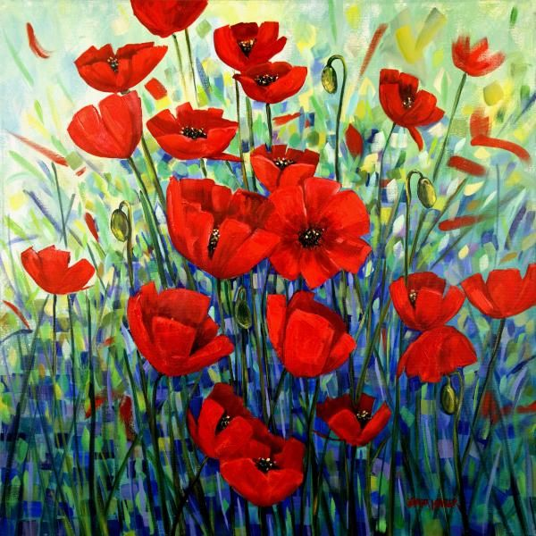 Red Poppies Painting  - Red Poppies Fine Art Print by Georgia Mansur. http://www.georgiamansur.com
