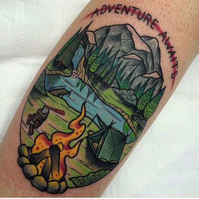 Awesome Camping Tattoo by Martin Blair