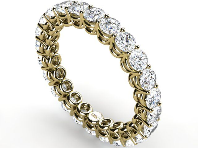 Full Eternity Diamond 2.40 ct Vs1 clarity H color Ring Band 18k Yellow Gold - Paul Jewelry