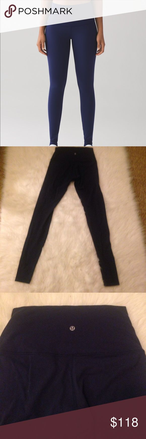 Lululemon navy high rise wunder under These are the wunder under roll down. Don't have to roll down. Condition is 9/10 slight pilling in crotch region (see picture) lighting is a little tricky to actual color but stock photo is exactly the color I'm selling. Size 6. Also selling a deep teal pair lululemon athletica Pants Leggings
