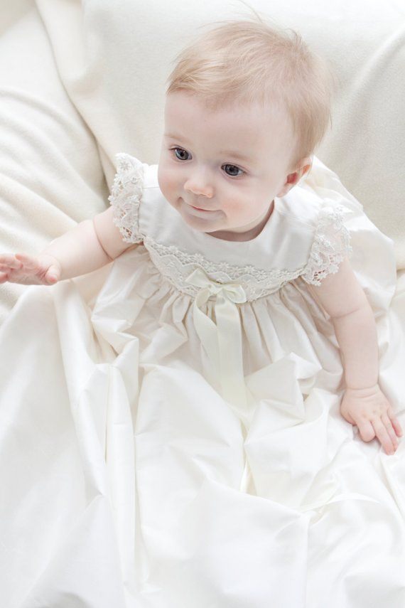 fbcb72b10afa Christening Gown - Lucy Baptism Gown - Baptism Dress - Girls Christening  dress - Silk Christening gown - Blessing gown - Lace Gown - Baptism