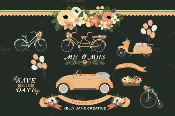 Check out Wedding Wheels by Kelly Jane Creative on Creative Market
