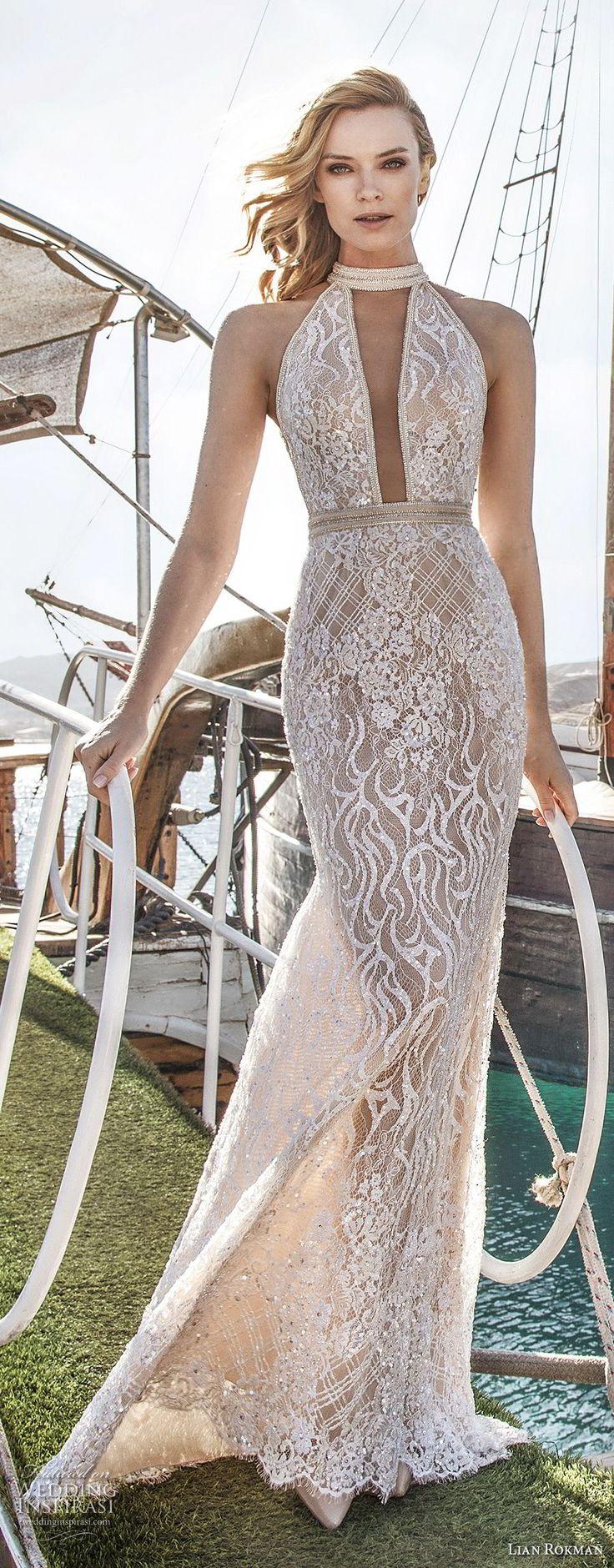lian rokman 2017 bridal sleeveless halter neck full embellishment elegant sexy sheath wedding dress keyhole back short train (sapphire) mv