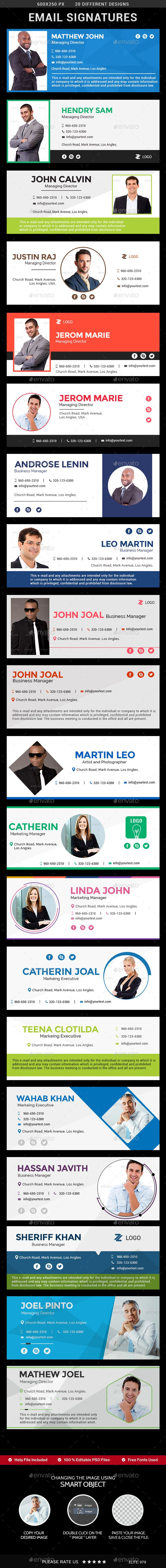 Email Signature Templates  Clean & Professional Design  Multipurpose Use  Completely editable  Easily customizable PSD Templates