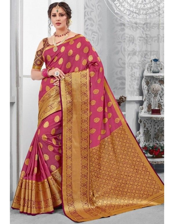 e62d8891ffa94c Onion Pink Tussar Silk Saree in 2019 | Silk Sarees | Chanderi silk ...