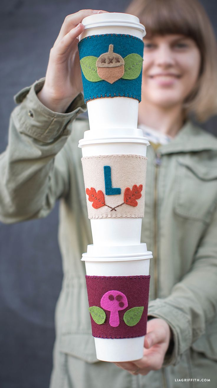 Hand Stitched Felt Coffee Sleeve | Lia Griffith by Lia