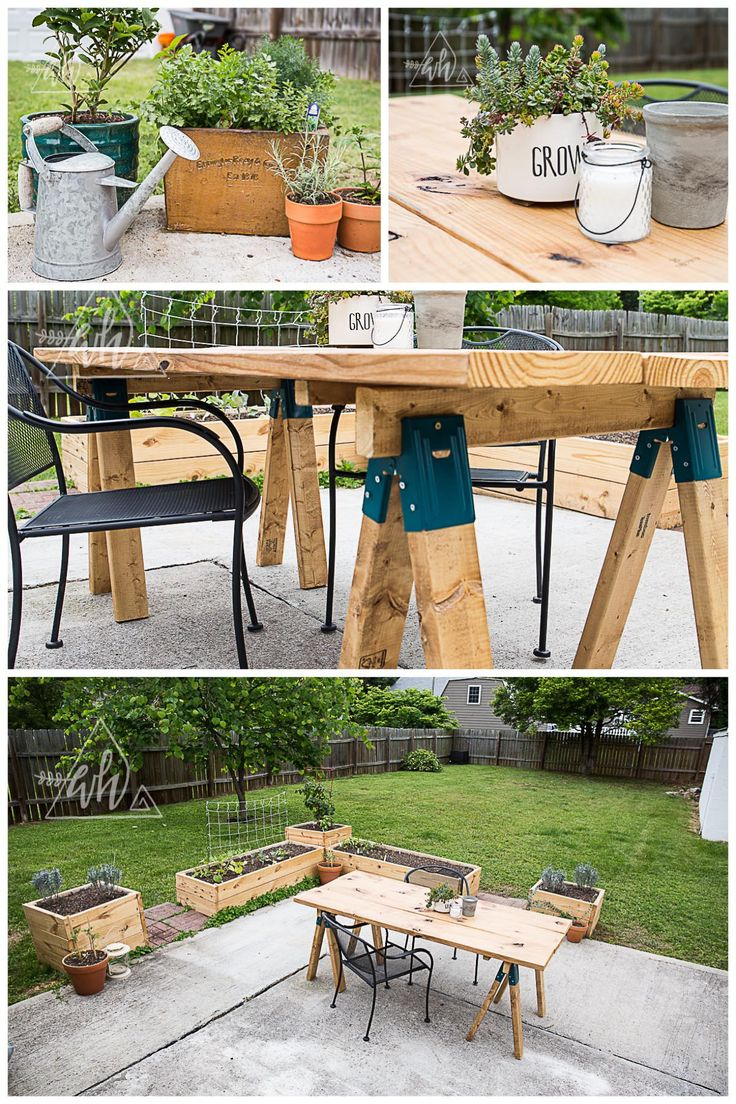 DIY Outdoor Patio Area. Box Gardens and Saw Horse Table. Wanderer's Hearth