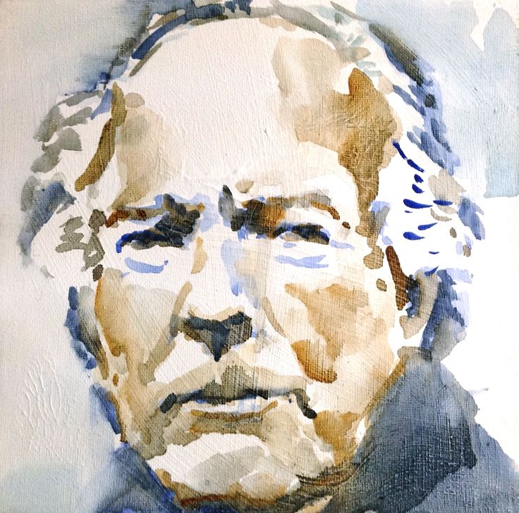 Thomas Bernhard watercolor on canvas 20x20
