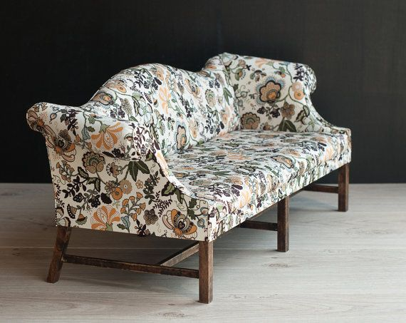 1/4 scale Doll Chippendale Sofa Upholstered with floral print fabric, Decorative Playscale Sofa with Chinoiserie motifs for msd dolls