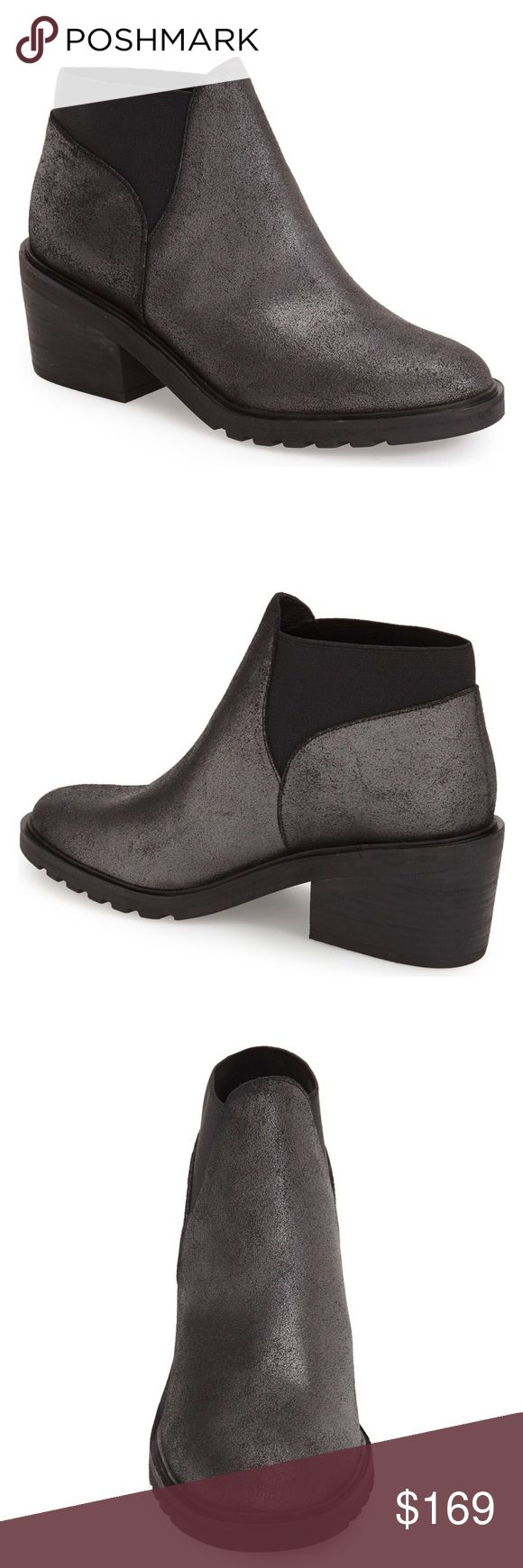 """Eileen Fisher Metallic Ankle Booties Super cute and slightly metallic gray booties from Eileen Fisher. A stretchy elastic-gore cuff perfects the fit of a standby ankle boot shaped from smooth leather.  2 1/2"""" heel.  4"""" boot shaft. Pull-on style. Leather and textile upper and lining/rubber sole. By Eileen Fisher; imported. New with box.  🚫NO TRADES🚫 Eileen Fisher Shoes Ankle Boots & Booties"""