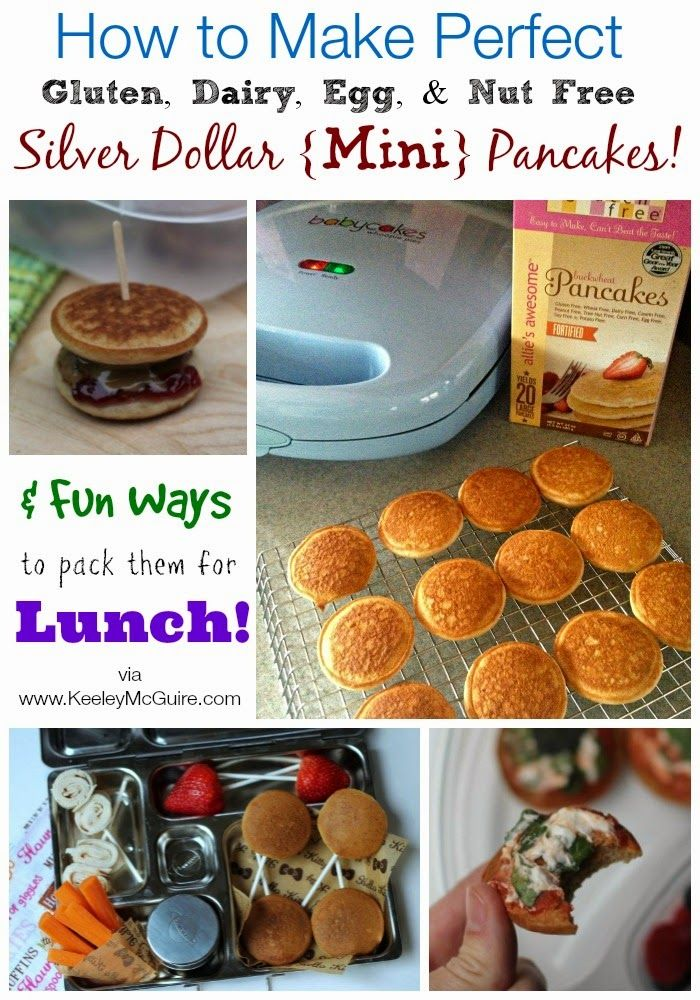 Gluten Free & Allergy Friendly: How to Make PERFECT Silver Dollar {Mini} Pancakes + Fun Ways to Pack them for LUNCH! {Gluten, Dairy, Egg, & Nut Free}