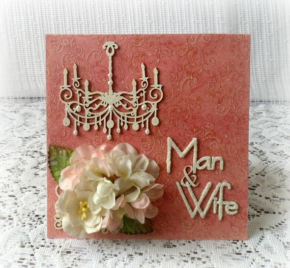 Handmade wedding card  aniversary card  Man & by CarmenHandCrafts