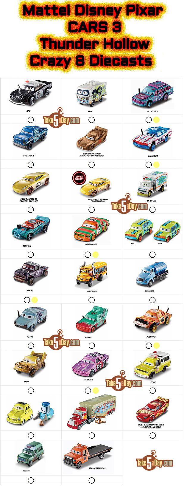 Mattel Disney Pixar CARS 3: Thunder Hollow Crazy 8 Derby Diecasts Checklist | Take Five a Day