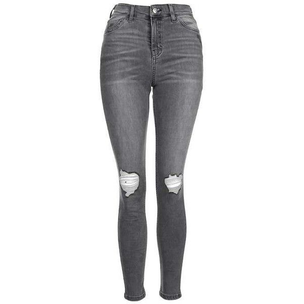 TopShop Moto Grey Ripped Jamie Jeans (£61) ❤ liked on Polyvore featuring jeans, pants, bottoms, calça, skinny jeans, ripped jeans, high-waisted jeans, distressed jeans and high waisted ripped jeans