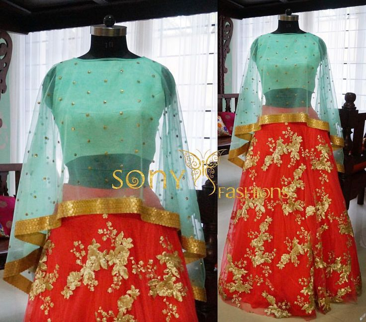 Beautiful Cape Style Lehanga sAt Sony Fashions Grab them soon!!! lehanga  contemporary  stylish ethnic  peach  terquoise  Attire sonyfashion To place order :-Mail us at :-sonyreddy24@gmail.comCall or whts app at:-8008100885  20 November 2016
