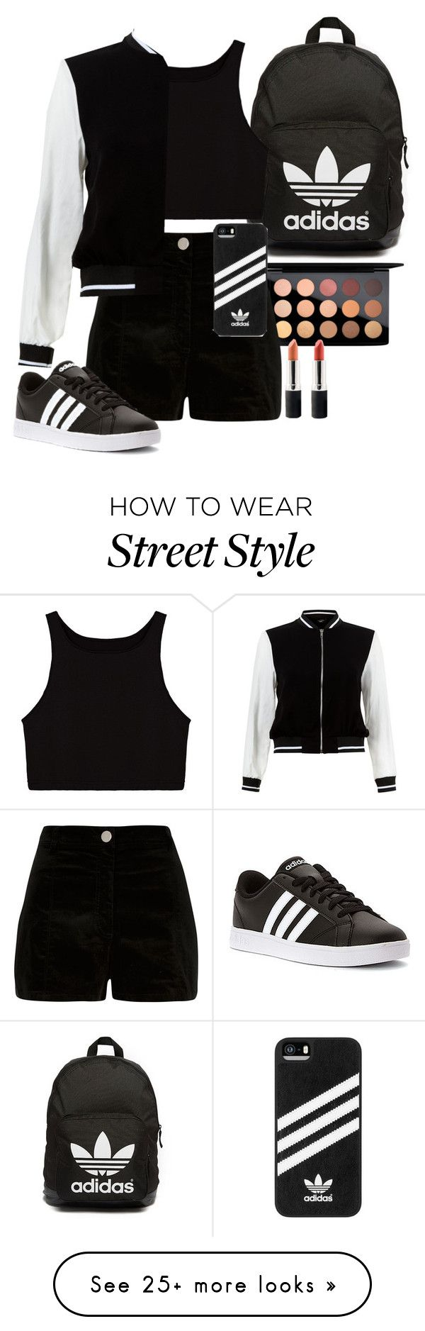 """""""Street style"""" by seventeene on Polyvore featuring MAC Cosmetics, River Island, adidas, adidas Originals, New Look, Terre Mère, tokyo and Packandgo"""