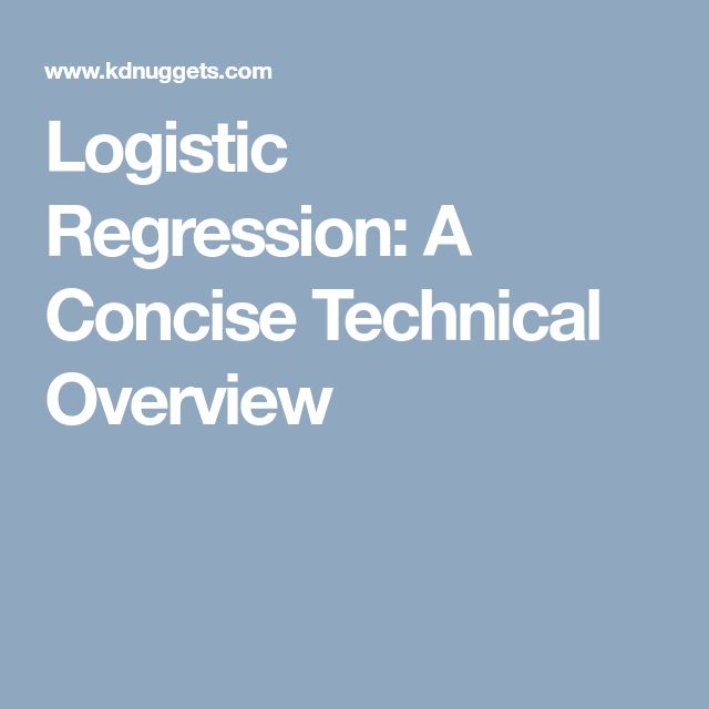 Logistic Regression: A Concise Technical Overview