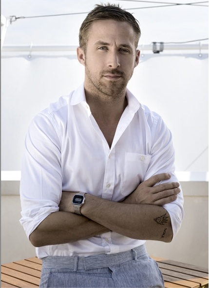 Classic white shirt. Tailored trousers. Watch. Nod to Ryan Gosling.