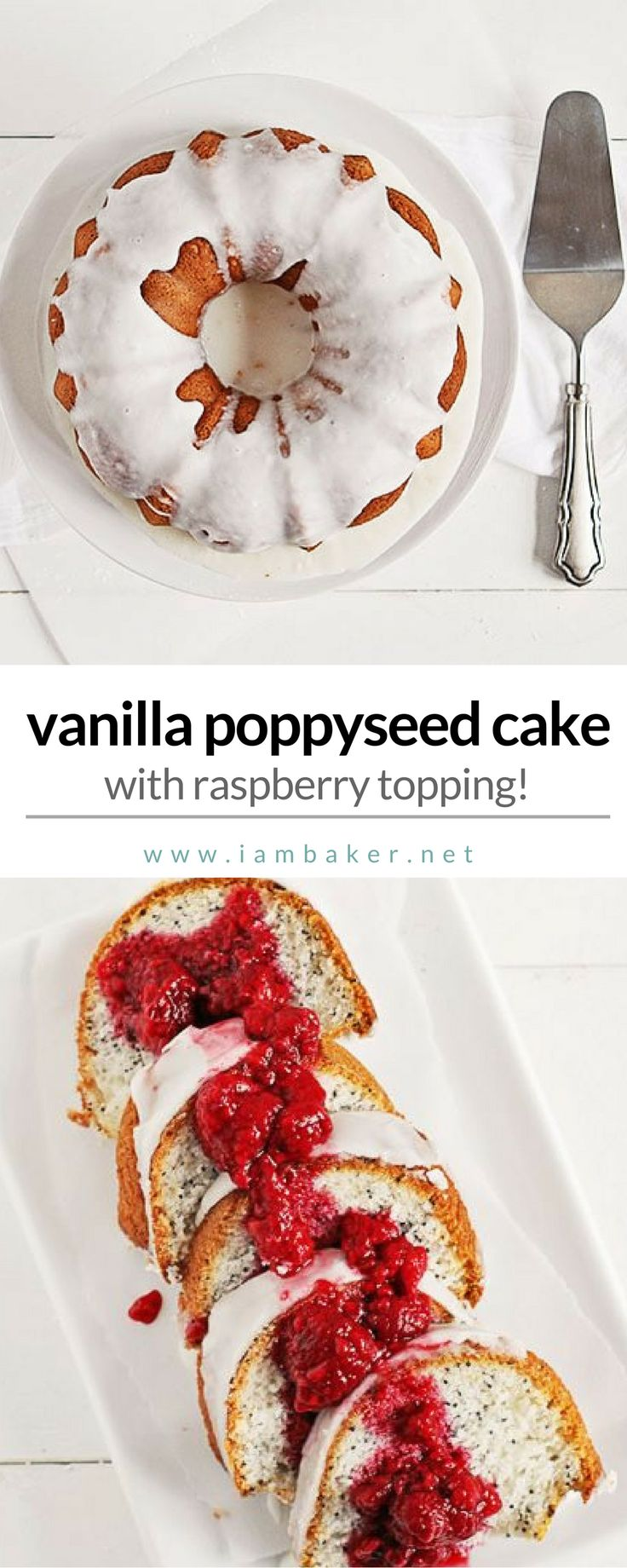 Easy dessert recipes or easy cake recipes? You'll gonna love this vanilla poppyseed cake with raspberry topping! It's a homemade bundt cake - a light and fragrant vanilla cake peppered with black poppy seeds and covered in the sweetest glaze. Add to your best Thanksgiving dessert recipes! For more delicious dessert recipes to make, check us out at #iambaker. #cakes #desserts