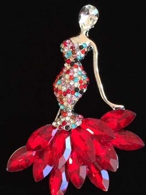 RED FORMAL GALA DRESS PAGEANT GOWN WEDDING CHA CHA BALLROOM DANCING PIN JEWELRY #Unbranded