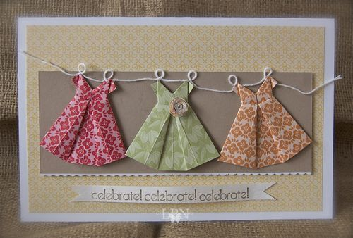Origami dresses!!: Cards Ideas, Baby Cards, Birthday Parties, Origami Dress, Paper Dresses, Birthday Cards, Dresses Cards, Girls Birthday, Baby Girls Cards Stampin Up