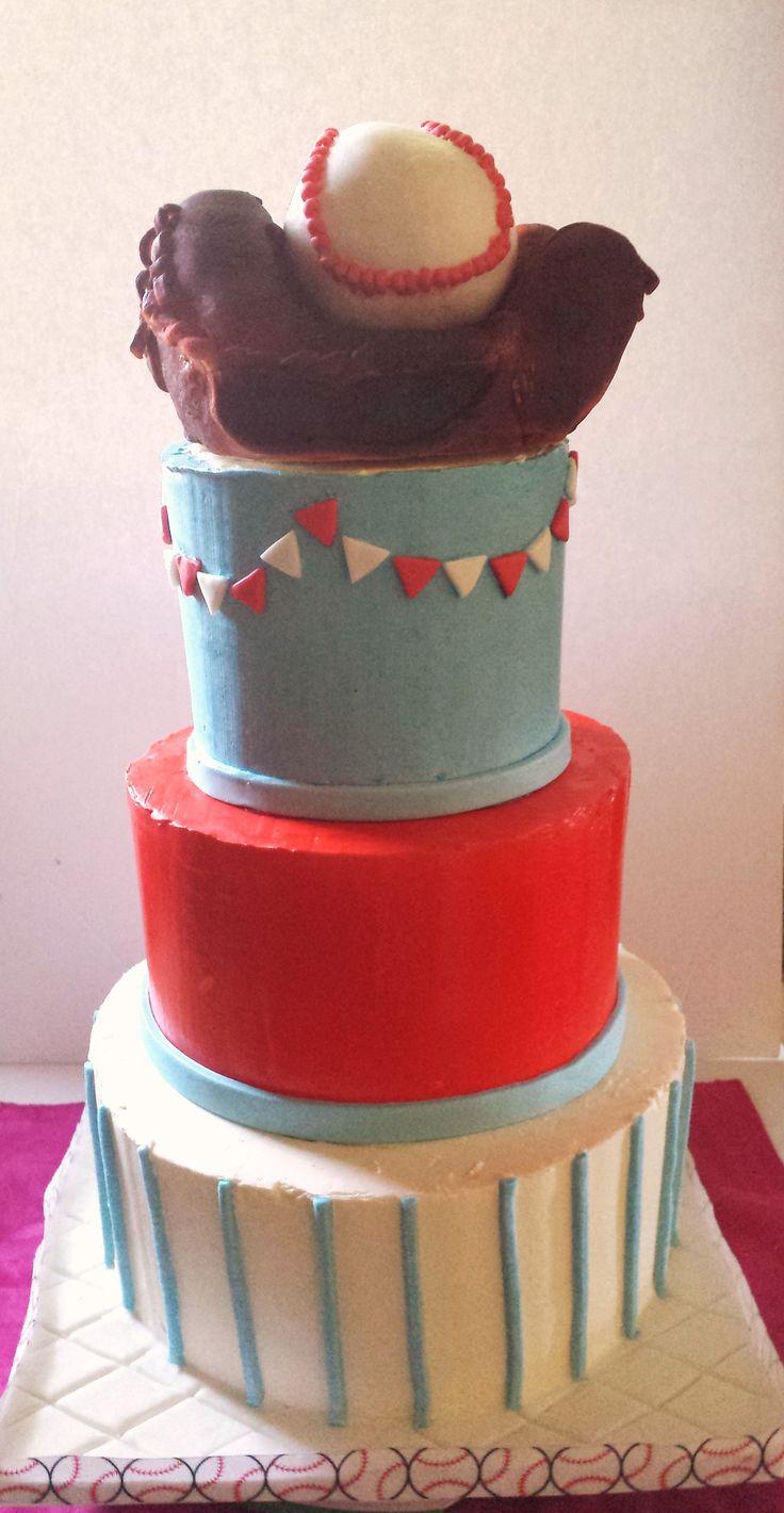Base Ball Cake with baseball glove topper