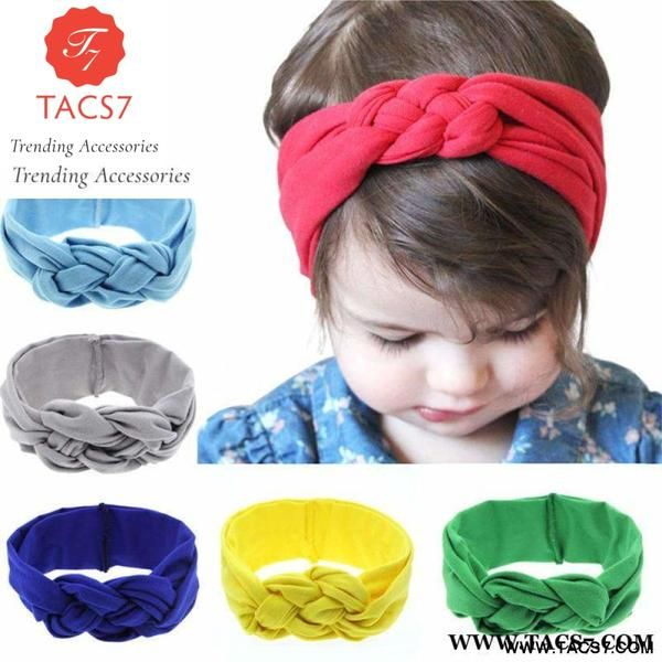 Cute Baby Bowknot Headband Knitted Cotton Child Elastic Hair Band Girl Headbands