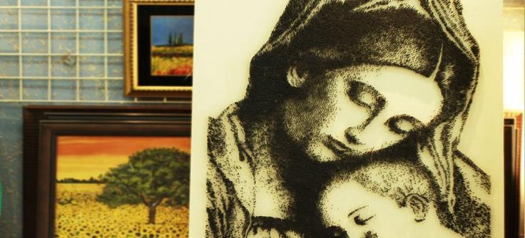 Unglaubliche Kunstwerke des Künstlers Wajid Khan. Portrait aus dem Hämmern fast …