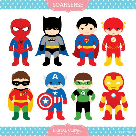 Superheroes Clipart 1 by soarsense on Etsy, $5.00