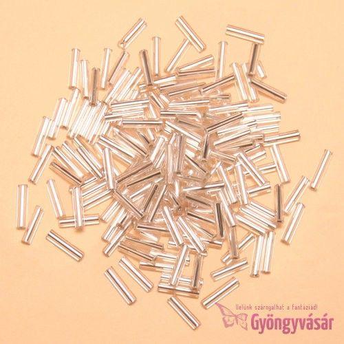 Ezüst közepű átlátszó, 9 mm-es cseh szalmagyöngy (10 g) • Gyöngyvásár.hu