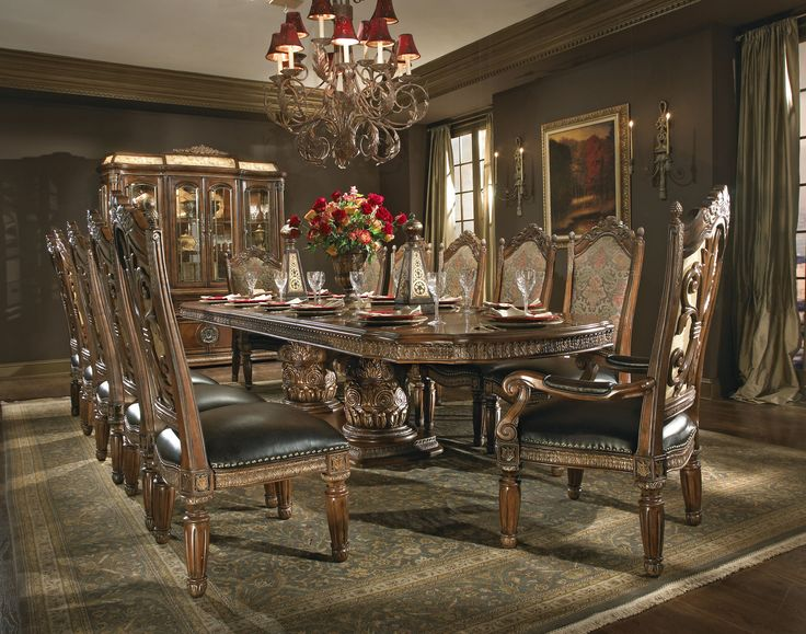 The Villa Valencia Formal Dining Room Collection 12368 $32,000 with  3 curios,  seats  12