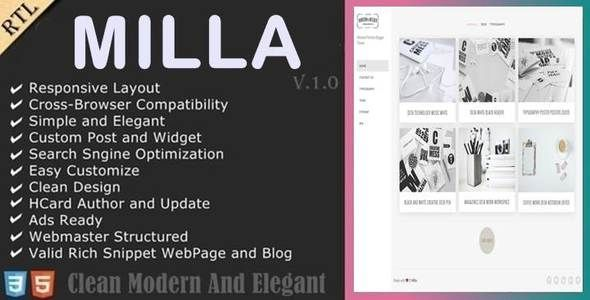 Milla - Minimal Portfolio Blogger Template Blogging / Blogger by anarchyta