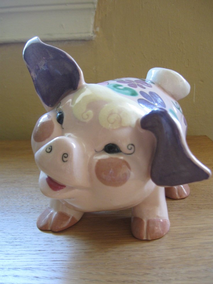 1950 S Kay Finch Ceramic Hand Painted Pig Pigs