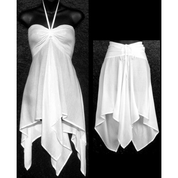 Convertible White Hippie Tie Dye Blank Blanks Dye Your Own Beach... ($28) ❤ liked on Polyvore featuring dresses, grey and women's clothing