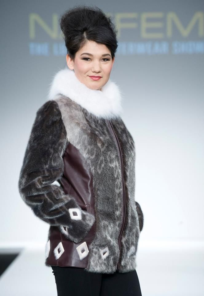 Malaya Qaunirq Chapman wearing sealskin at Montreal NAFFEM Fashion show 2