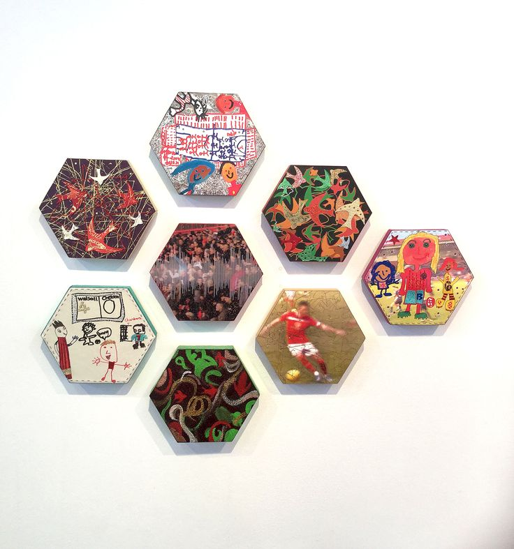 Leather hexagons based on Walsall Saddlers FC made in a workshop led by artist Melanie Tomlinson for the Home Ground project and exhibited at Devon Guild in the Souvenmirs from Home exhibition Autumn 2016 at the Guild. Souvenirs shows work from all the project sessions in 6 Uk football league towns based on their industrial craft heritage. #leatherwork  #walsall #football