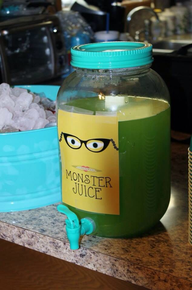 Monsters inc birthday monster juice aka lemonade with green food coloring