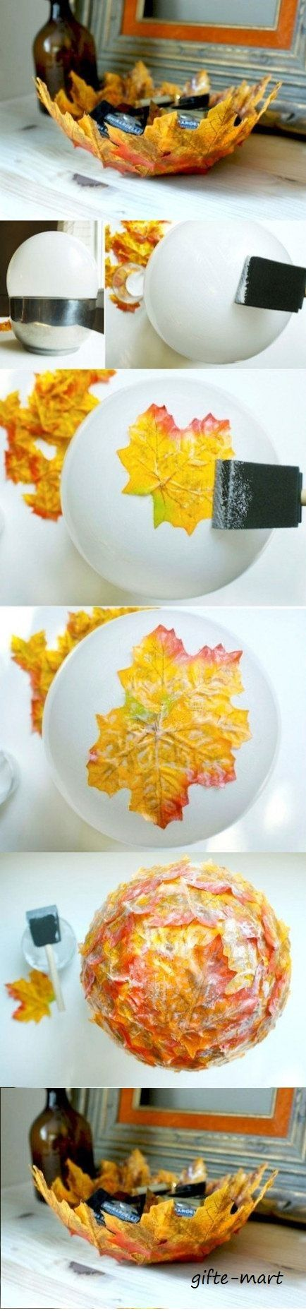use a balloon and modge podge or white glue to make this delicate leaf bowl fall centerpiece. Pop the balloon to release the bowl . Beautiful as a flameless candle holder too!