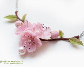 Hair clip Sakura Cherry Blossom Polymer Clay by SaisonRomantique